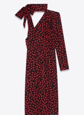 リコカツ北川景子の赤ドットに黒のワンショルダーワンピースドレス