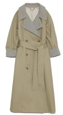 着飾る恋には理由があって川口春奈の衣装・カーキ&チェックのスプリングコート(リリーブラウン)